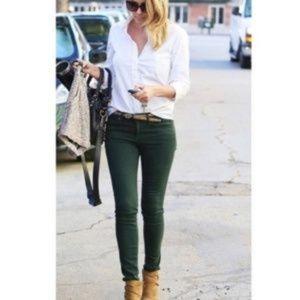 ANTHRO Pilcro Stet Hunter Green Skinny Jeans 27